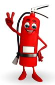 Fire Extinguisher character with victory sign — Stock Photo