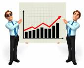 Young service man with graph board — Stock Photo