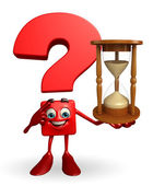 Question Mark character with sand clock — Stock Photo