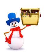 Snowman character with treasure box — Stock Photo