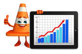 Construction Cone Character with business graph — Stock Photo