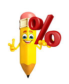 Pencil Character with Percent sign — Stok fotoğraf