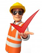 Young worker with right sign — Foto de Stock
