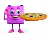 Gift Box Character with pizza — Stock Photo
