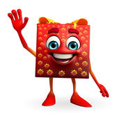 Gift Box Character with hello pose — Stock Photo