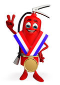 Fire Extinguisher character with gold medal — ストック写真