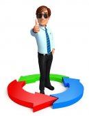 Jovem de serviço com círculo gráfico — Foto Stock