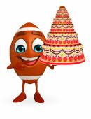 Rubgy ball character with cake  — Stock Photo