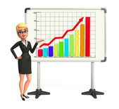 Young Business Woman with business graph — Stockfoto