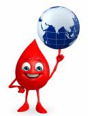 Blood Drop Character with globe — Stock Photo