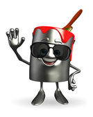 Paint Bucket Character with sun glasses — Photo