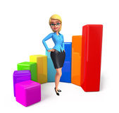 Young office girl with business graph — Photo