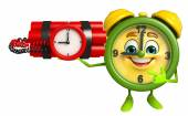 Table clock character with time bomb — Stock Photo
