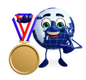 Globe Character with gold medal — Stock Photo