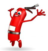 Fire Extinguisher character is jumping — Stock Photo
