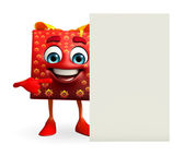Gift Box Character with sign — Stock Photo