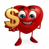 Heart Shape character with dollar sign — Stock Photo