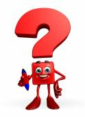 Question Mark character with pen — Stock Photo