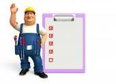 Jeune plombier avec notepad — Photo