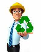 Young Service Man with recycle icon — Photo