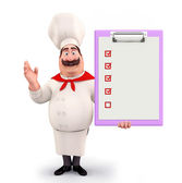 Young chef with notepad — Stock Photo