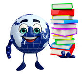 Earth Character with Book pile — Photo