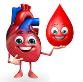 Heart character with blood drop  — Stock Photo