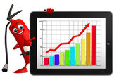 Fire Extinguisher character with business graph — Photo