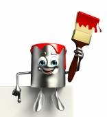 Paint Bucket Character with sign — Stock Photo