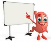Personnage de dessin animé de l'estomac avec le tableau d'affichage — Photo