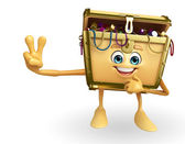 Treasure box character with victory pose — Foto Stock