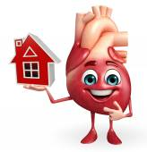 Heart character with home  — Stok fotoğraf
