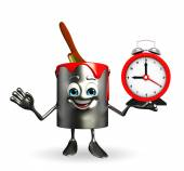 Paint Bucket Character with table clock — Stock Photo