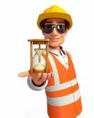 Young worker with sand clock — Stock Photo