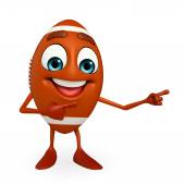 Rubgy ball character with pointing pose — Stock Photo