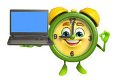 Table clock character with Laptop — Stock fotografie