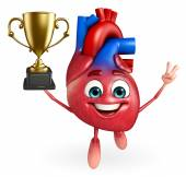 Heart character with trophy — Foto Stock