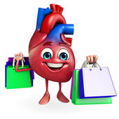 Heart character with shopping bag — Foto Stock