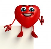 Heart Shape character with sign — Stock Photo