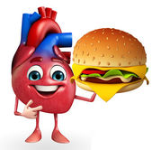Heart character with burger — Stok fotoğraf