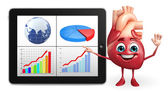 Heart character with business graph — Stock Photo