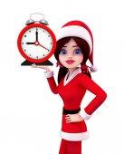 Santa Girl Character with table clock — Fotografia Stock