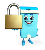 Dustbin Character with lock — Stockfoto