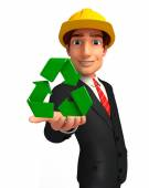 Young Business Man with recycle icon — Stok fotoğraf