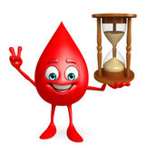 Blood Drop Character with sand clock — Stock Photo