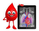 Blood Drop Character with heart anatomy — Stock Photo