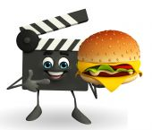 Clapper Board Character with burger — Stock Photo