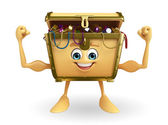 Treasure box character with bodybuilding — Foto Stock