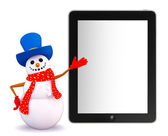 Snowman character with tab — Stock Photo