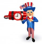 Uncle Sam with time bomb  — Stock Photo
